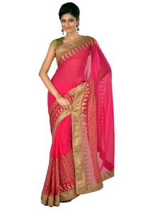 Get Rs. 427 Off On Pink Chiffon Saree