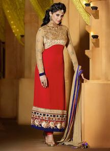 Dazzling red georgette kumud straight suit