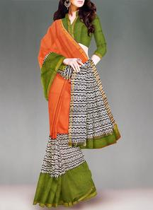 Opulent orange chanderi cotton sico saree