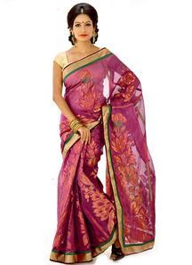 Pretty purple art silk bengal handloom saree