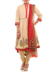 Grab Beige Cotton Asymmetric Suit Set at Just Rs 1850 Only