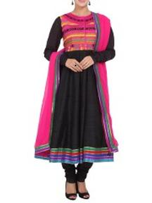 Buy Black Silk Anarkali Suit Set at just Rs 5475