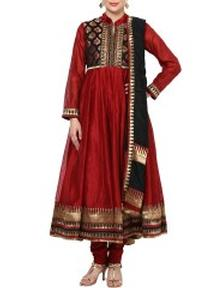 Buy Deep Red Anarkali Cotton Suit Set @ Rs 6570