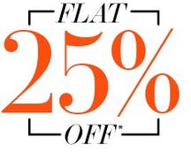 Flat 25% OFF Apparels, Footwear and many more