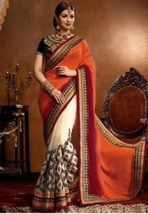 Buy Bollywood Style Georgette Saree in Orange & White Colours at Just Rs 2565 Only