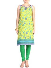 Yellow Cotton Straight Kurta at just Rs 400 Only