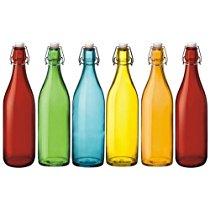 Freeze Safe Air Tight Flip Cap Color Glass Bottles