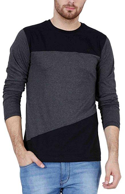 Fashion Freak Full Sleeve T Shirt For Men Stylish Cross Pattern Style Grey Black Colour (FF008)