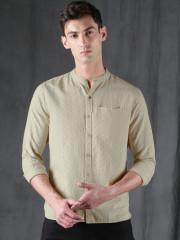 WROGN Men Beige Slim Fit Printed Casual Shirt