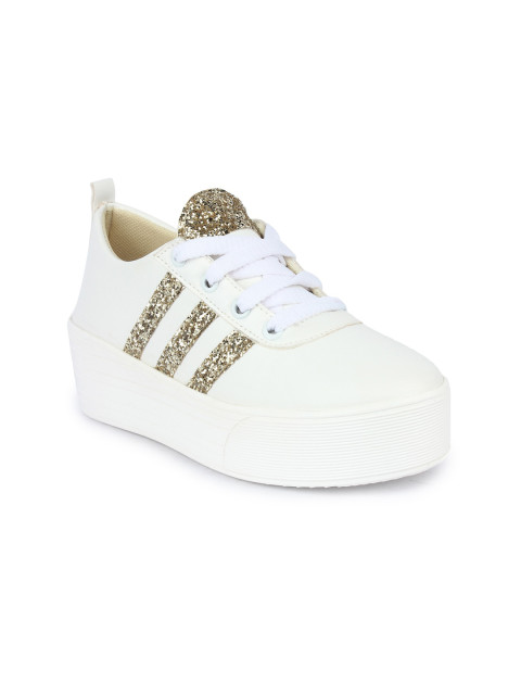 Shoetopia Women White Sneakers with Shimmery Detail
