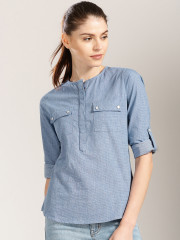 Harvard Women Blue Striped Shirt-Style Top