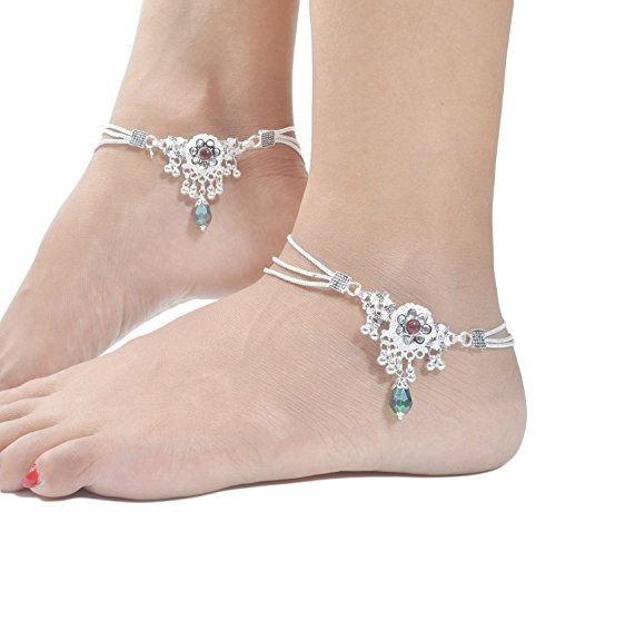 Charms Diva Silver Alloy Anklet For Girls & Women