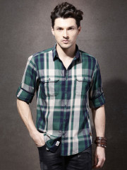 Roadster Men Green & Beige Checked Casual Shirt