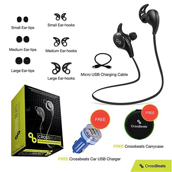 Crossbeats Wireless Bluetooth Headset V4.1 Sports With Mic/Apt-X - Black