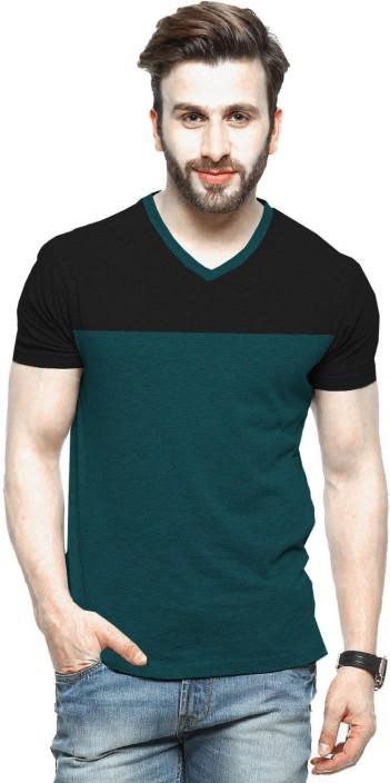 Tripr Solid Men V-neck Multicolor T-Shirt