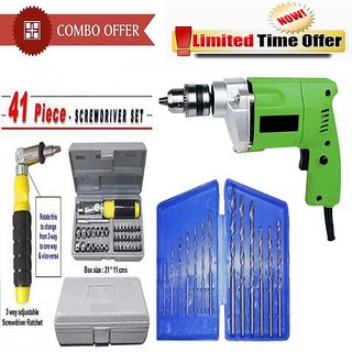 Shopper52 Combo Of 10 mm Drill Machine + Drill Bit Set + 41Pcs Tool Set