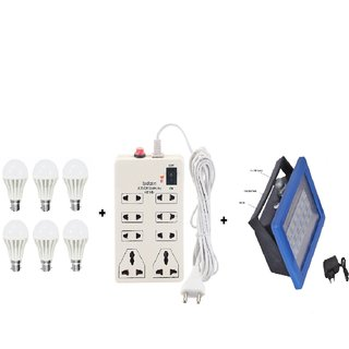 PNP 9W cool day led (pack of 6) with D18 rechargeable emergency light with charger and 8 Plug Point Extension combo