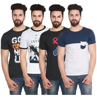 Stylogue Mens Multicolor Round Neck T-shirt (Pack of 4)