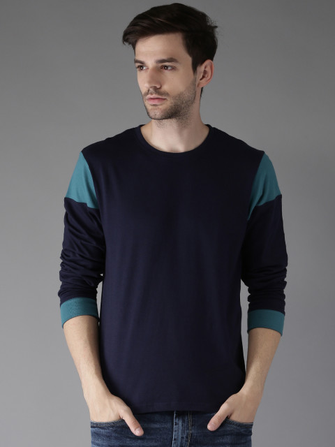 Moda Rapido Men Navy Solid Round Neck T-shirt