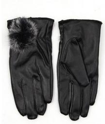 Lined Leather Gloves With Fur Ball At Wrist