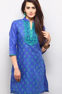 Flat 25% OFF Dark Blue Embroidered Kurti