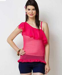 31% OFF Leeza One Shoulder Pink Top