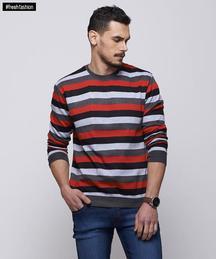 Yepme Simon Stripes Sweatshirt - Red & Grey