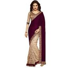 FLAT 90% Off On Ethnicpark Maroon Brasso Saree