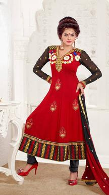 Brijraj Red Suit Dress Material