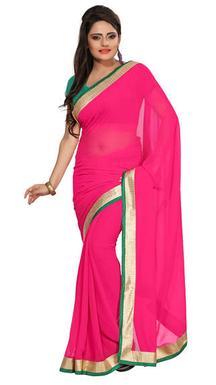 75% Off On Florence Pink Chiffon Fashionable Saree