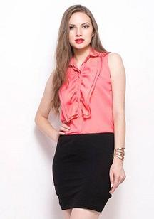 Get Ruffled Up Shirt-Coral at 31% OFF from FabAlley