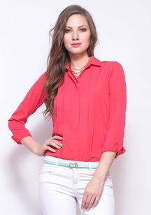 Chic Pleat Shirt - Salmon