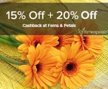 15% Off + 20% Cashback at Ferns & Petals