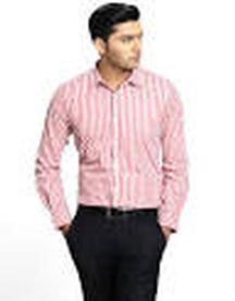 Genesis Formal Striped Red Shirt @ Rs. 1,119