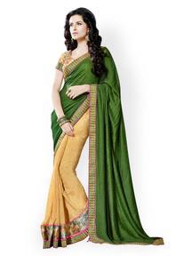 Prafful Green & Beige Brasso Partywear Saree : Get Flat 46% OFF