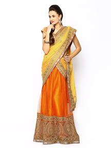 Ambica Red & Orange Chiffon Semi-Stitched Lehenga Choli @ Flat 40% OFF