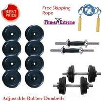 12 Kg Adjustable Fitness Extreme Rubber plates + Dumbells Rods 14 inch Star Bolts @ 73% OFF