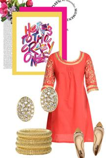 Red Kurta with Golden Embroidered Sleeves For Rs 639