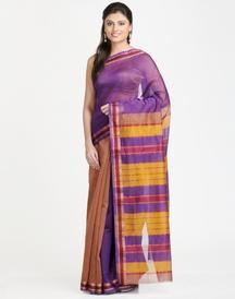 Silk Cotton Maheshwari Zari Stripe Karnaphool Border Sari