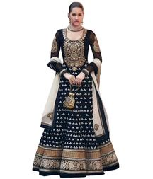 Get 68% OFF on Black Georgette Embroidered Anarkali Suit