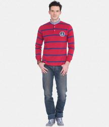 Red And Blue Striped Rugby Polo T-shirt