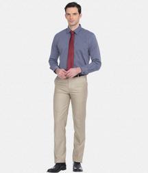 Regular Fit Formal Cotton Blue Stripes Shirt