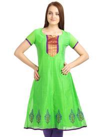 Classic Green Kora Cotton Anarkali Kurta With Printed Hemline And Zari Yoke
