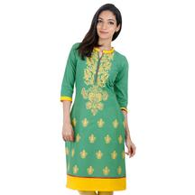 Green Casual Cotton Kurta