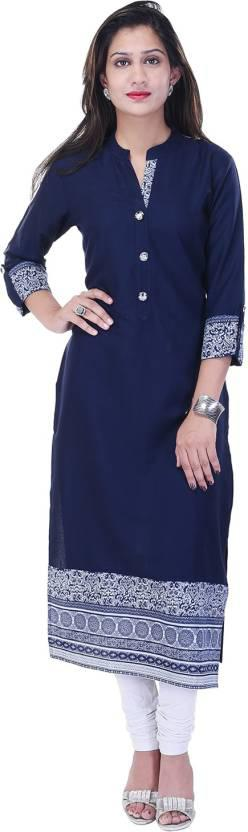 Style N Shades Women's Solid Straight Kurta (Blue)