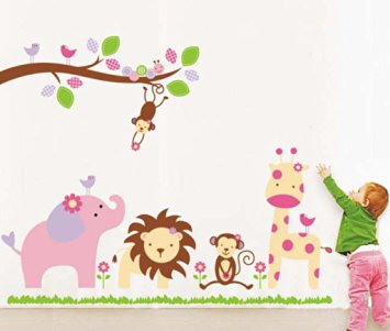 Decals Design 'Baby Cartoon Animal Kingdom Kids' Wall Sticker At 87% OFF