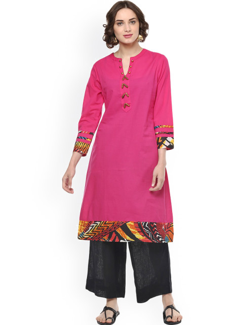 Pannkh Women Pink A-Line Kurta with Printed Detail