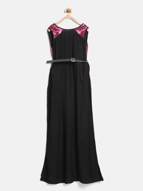YK Girls Black Sequinned Maxi Dress