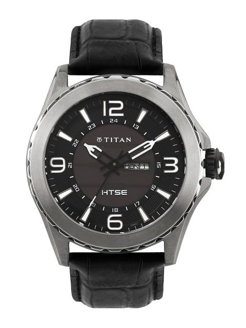 Titan Men Black & Brown Analogue Watch NE1572KL02