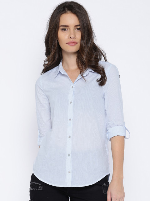 ONLY Blue & White Pinstriped Skinny Fit Shirt